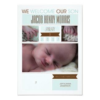 Simple Blue Baby Boy Annoucement Card