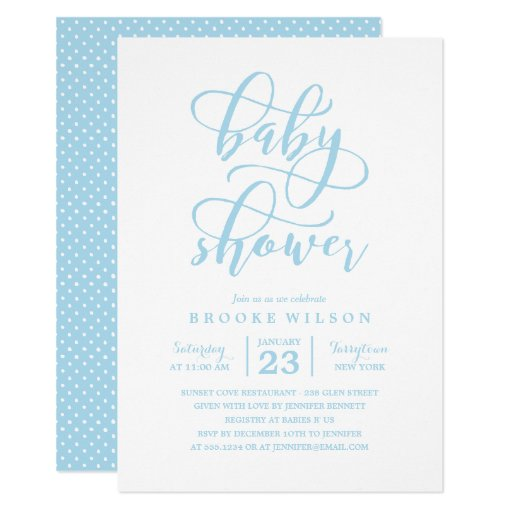 simple blue baby shower invitation zazzle