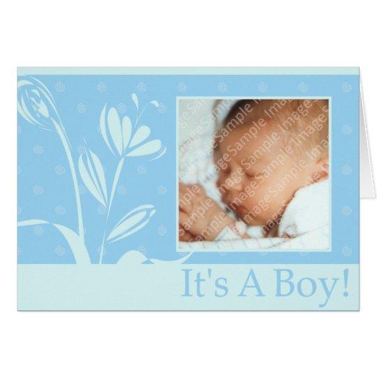 Simple Blue Boy Birth Announcement