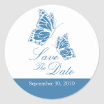 Simple Blue Butterfly Save The Date Wedding Classic Round Sticker