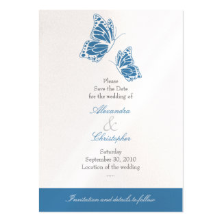 Simple Blue Butterfly Save The Date Wedding Mini Large Business Cards (Pack Of 100)