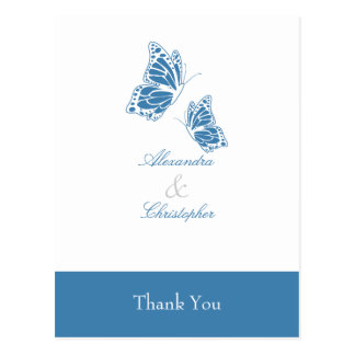 Simple Blue Butterfly Thank You Postcard