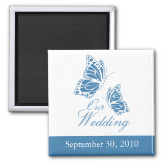 Simple Blue Butterfly Wedding Announcement 2 Inch Square Magnet