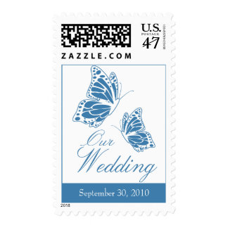 Simple Blue Butterfly Wedding Invitation Stamp
