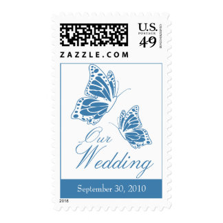 Simple Blue Butterfly Wedding Invitation Stamps