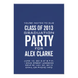 "SIMPLE BLUE CLASS OF 2013 PARTY INVITATION 5"" X 7"" INVITATION CARD"