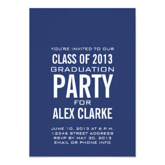 SIMPLE BLUE CLASS OF 2013 PARTY INVITATION
