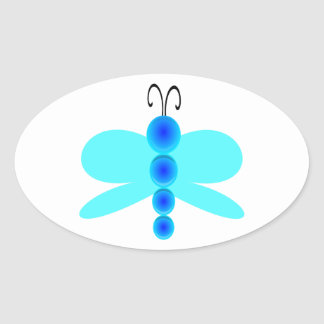 Simple Blue Dragonfly Oval Sticker