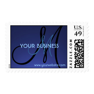 Simple blue fade monogram customizable stamps