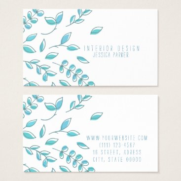 Professional Business Simple Blue Floral Business Card