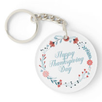 Simple Blue Floral Thanksgiving | Keychain