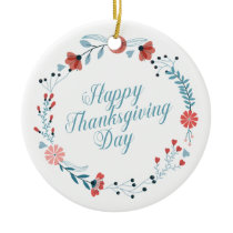 Simple Blue Floral Thanksgiving | Ornament