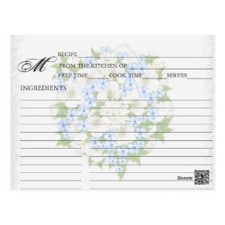 Simple Blue Flower Bouquet Recipe Cards