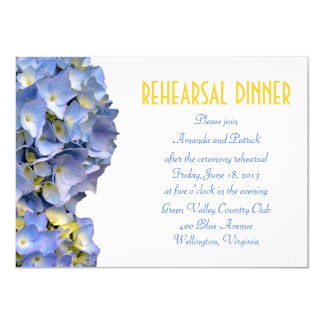 Simple Blue Flowers Rehearsal Dinner Invitation
