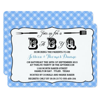 Simple Blue Gingham BBQ Baby Shower Invitations