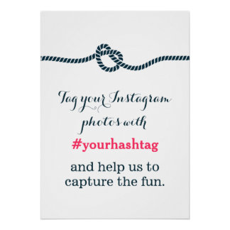 Simple Blue Knot Instagram Photos Hashtag Sign Poster