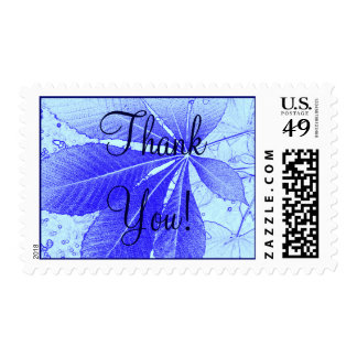 Simple Blue Leaf - Thank You! Postage