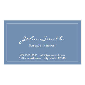 Simple Blue Massage Therapist Appointment Card Double-Sided Standard Business Cards (Pack Of 100)