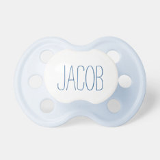 Simple Blue Name Boy Pacifier at Zazzle
