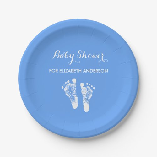 Simple Blue Newborn Footprints Boy Baby Shower Paper Plate