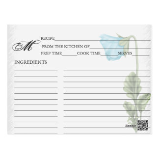 Simple Blue Pansy Recipe Cards
