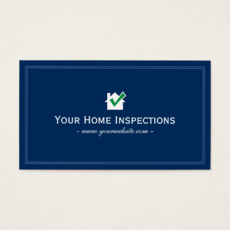 Simple Blue Plain Home Inspections Business card