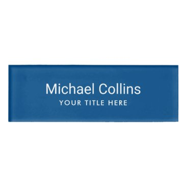 Professional Business Simple blue professional magnetic name tags