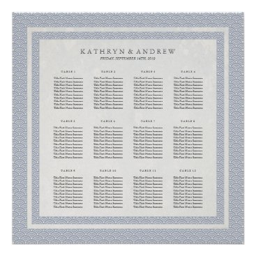 Beach Themed Simple Blue/Purple Pattern Seigaiha Seating Chart