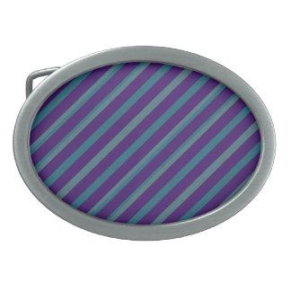 Simple Blue Purple Stripe Oval Buckle Belt Buckle