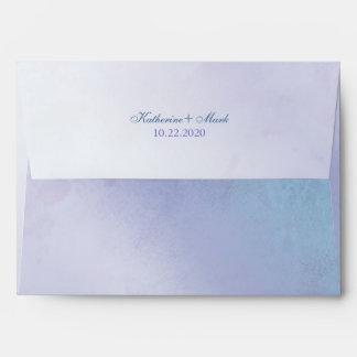 Simple Blue Purple Wedding Invitation A7 Envelopes