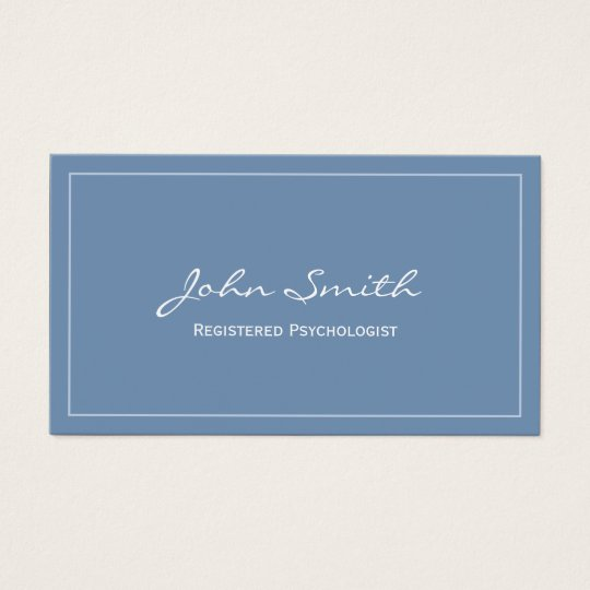 Simple blue registered psychologist business card zazzlecom for Psychology business cards