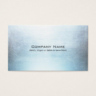 Simple Blue Silver Brushed Metal Look Business Card