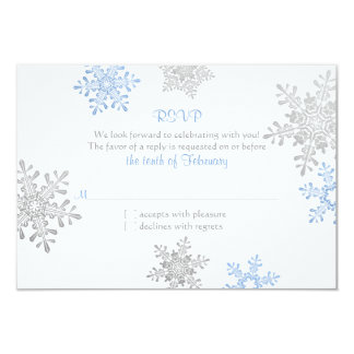 Simple Blue Silver Snowflake Winter Wedding RSVP Card