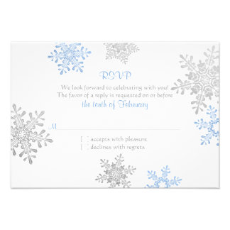 Simple Blue Silver Snowflake Winter Wedding RSVP Personalized Announcement