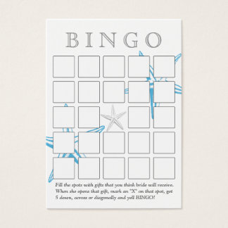 Simple Blue Starfish 5x5 Bridal Shower Bingo Card