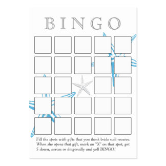 Simple Blue Starfish 5x5 Bridal Shower Bingo Card Large Business Cards (Pack Of 100)