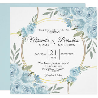 Simple Blue Watercolor Floral Wedding Invitation