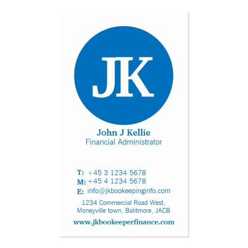 Simple blue & white circle finance business card
