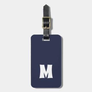 Simple Blue White Lines Bold Monogram Bag Tag