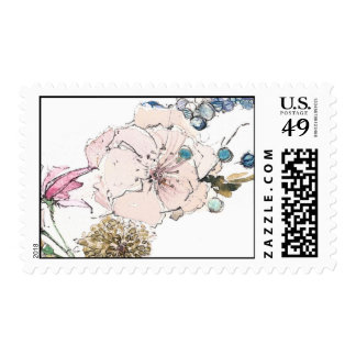 Simple Blush and Blue Floral Postage Stamp