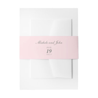 Simple Blush Pink Belly Bands Invitation Belly Band