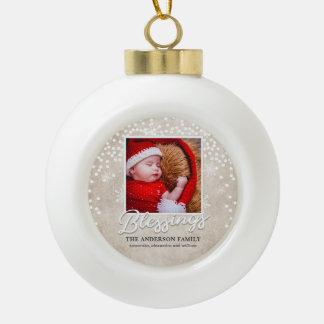 Simple Bokeh Blessings Christmas Photo Ceramic Ball Christmas Ornament