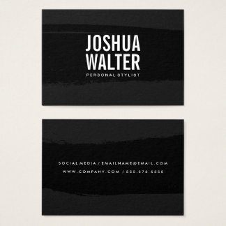 Simple Bold Text Black Brushed Business Card