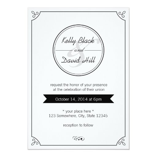 black and white wedding invitations simple border black amp white wedding invitations zazzle 1826