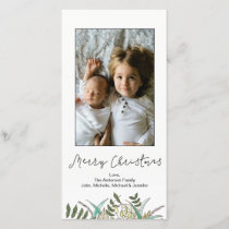 Simple Botanical Leaf Merry Christmas Holiday Card