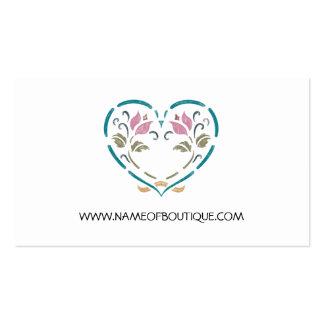 Simple Boutique Elegant Chalkboard Floral Heart Business Card