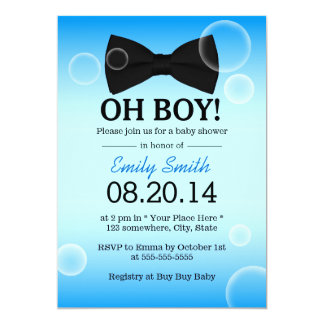 Simple Bow Tie Boy Baby Shower Invitations
