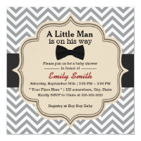 Simple Bow Tie Little Man Chevron Baby Shower 5.25x5.25 Square Paper Invitation Card