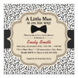Simple Bow Tie Snow Leopard Print Baby Shower 5.25x5.25 Square Paper Invitation Card