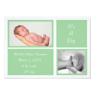 Simple Boxes Birth Announcement (green)